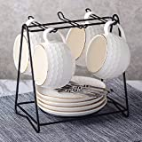 HQLCX Schöne Farbe Keramik - Tasse Cappuccino - Tasse Und Untertasse 4 Satz 4 - Disc 4 Löffel Frisiert,Weiße