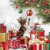 4tovaglioli per decoupage-a strati, 33x 33cm-Natale-gattino e palline (4individuali per lavoretti e tovaglioli Art.)