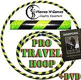 Pro Hula Hoop Reifen Erwachsene + Hooping DVD (Schwarz/Gelb UV) Faltbarer Travel Hula Hoop für Training u. Tanz HoopDance - Größe 100cm, Gewicht 650g
