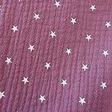 Stoff Meterware Baumwolle Musselin brombeere Sterne