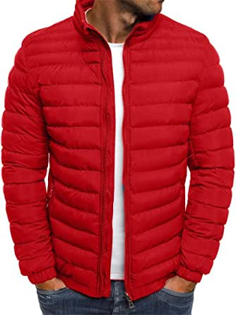 Men's Jacket Long Sleeve Bomber Jacket Stand-Up Collar Hood Quilted Jacket Hooded Light Outdoor Puffer Cardigan Padded Autumn Winter New Pure Color Simple Atmosphere Transition Coat