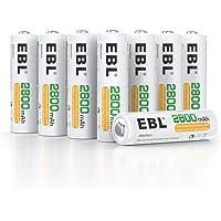 EBL 8PCS AA Piles Rechargeables Ni-MH 2800mAh Plus Haute Capacité, R6 Rechargeables 1200 Cycles avec boîtes de Piles