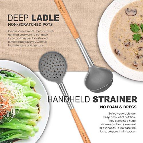 Godmorn – Set di utensili da cucina (9pezzi), utensili da cucina in silicone antiaderente, per cucinare–silicone e acciaio inox e manico in legno – kit per pentole e padelle - 2