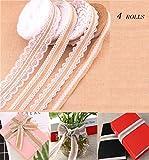 Rouleau de ruban en toile de jute, Worldwell en toile de jute Rouleau de ruban en toile de jute avec dentelle Blanc Sangle, cadeau de Noël pour fête de mariage Décoration intérieure, 5metres 4rouleaux