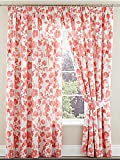 """Amelina Floral Lined 3"""" Curtains Coral 62x90"""""""