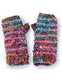 Fairtrade Gringo Knitted Silk Fingerless Gloves Hand Warmers Made In Nepal