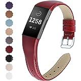 KIMILAR Armbanden compatibel met Fitbit Charge 4 / Charge 3 armband, leer, reserveband, tweekleurig, horlogeband voor Charge