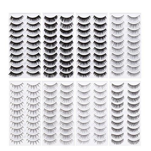 Lurrose 80 Paar 3D Falsche Wimpern Set Natürliche Weiche Gefälschte Wimpern Pack in 8 Stil für Damen (Schwarz) -