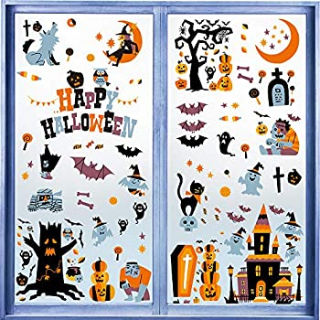 LOKIPA 150 PCS Halloween Window Clings Stickers Decal for Halloween Party Dec...