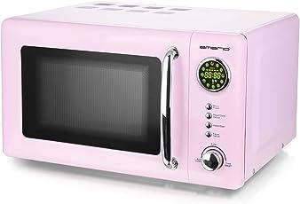 Rosa 700 Watt Mikrowelle 20 Liter Garraum Drehteller Retro Design Emerio MW-112141.1 pink Mikrowellen-Gerät
