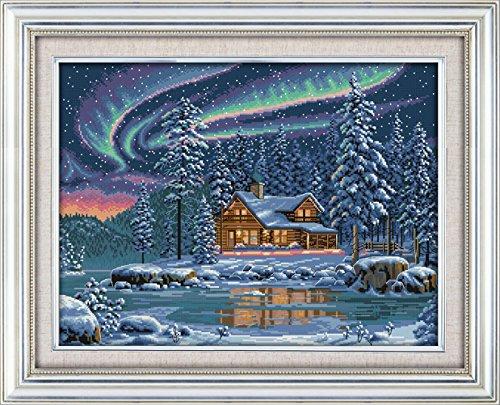 YEESAM ART Neu Kreuzstich Stickpackung - Nord- Beleuchtung 14 CT 55×43 cm DIY Stickerei Set Weiß Segeltuch - Kreuz Nähen Handarbeit Weihnachten Geschenke Cross Stitch (Christmas Star Wars Tree Topper)