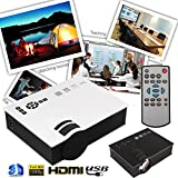 Hanbaili (White + UK Plug) Proyector de video UC40 Mini LED, 7000 lúmenes Proyector de video de cine en casa multimedia Soporte 1080P Tarjeta de HDMI USB SD VGA AV Cine en casa TV Juego de computadora