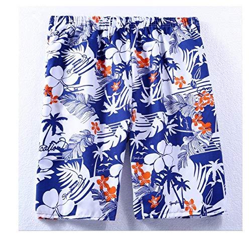 Azul Blanco Hawaiano Y Flor Roja Pantalones Cortos De Natación Hombres hasta La Rodilla Pantalones...
