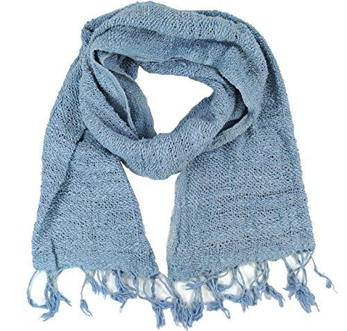 GURU-SHOP, Bufanda de Punto de Algodón, Azul Claro, Tamaño:One Size, 190x45 cm, Bufandas