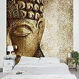 Apalis Vliestapete Vintage Buddha Fototapete Quadrat | Vlies Tapete Wandtapete Wandbild Foto 3D Fototapete für Schlafzimmer Wohnzimmer Küche | Größe: 240x240 cm, braun, 95497