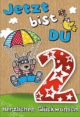 Karte Geburtstag Zahl 2 Hund Fallschirm bunt Folie rot - Liefermenge 5 Stück