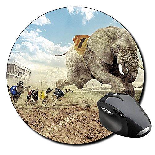 carrera-de-perros-y-elefante-dogs-elephant-races-tappetino-per-mouse-tondo-round-mousepad-pc