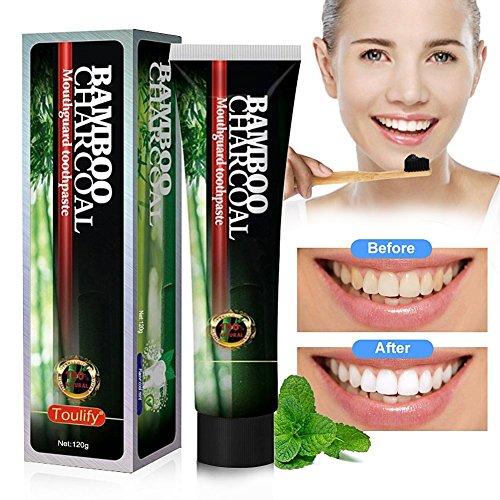 Aktivkohle Schwarze Zahnpasta für weiße Zähne - zur Zahnaufhellung & Zahnreinigung von Mabox (120g)