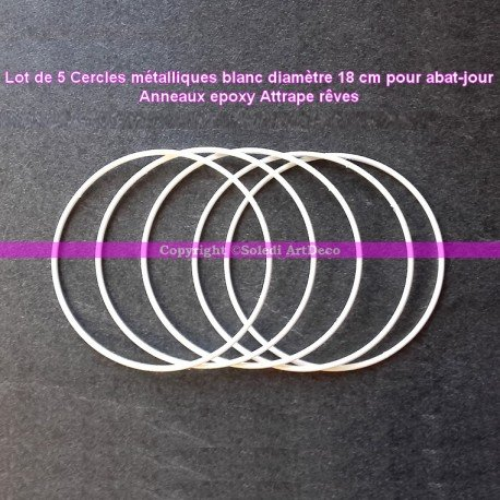 Lot de 5 Cercles métalliques blanc diamètre 18 cm pour abat-jour, Anneaux epoxy Attrape rêves