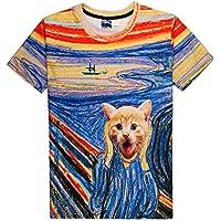 GZZ Verano Salvaje Gato Pintado Corto 3DT Camisa/Hombres de Moda Que Adelgaza 3D Manga Corta/músculo Camiseta Camiseta Casual Camisa,Gato Pintado,L