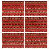 GONGFF Manteles Individuales Juego de 6 Kenia Logo Bandera Aislamiento térmico Resistente a Las Manchas Mantel Individual para Mesa de Comedor Tejido Cruzado Duradero Cocina de Vinilo Tejido Alfomb