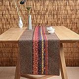 ZJM-table runner Unterschrift Baumwolle Tischläufer buddhistischen Stimmung Tee Tisch Kissen ethnischen Stil Tischfahne Bett Läufer (Farbe : Browm, größe : 30*120cm)