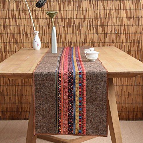 ZJM-table runner Unterschrift Baumwolle Tischläufer buddhistischen Stimmung Tee Tisch Kissen ethnischen Stil Tischfahne Bett Läufer (Farbe : Browm, größe : 30 * 180cm)