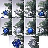 Christbaumschmuck in Blau / Silber Weihnachtskugeln glänzend und matt Baumschmuck Weihnachten Deko Anhänger diverse Sets wählbar, Set wählen:28-teiliges Set