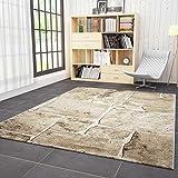 VIMODA Wohnzimmer Teppich in Beige Braun Stein Mauer Optik Klassisch Sehr Dicht Gewebt Top Qualität 120x170 cm