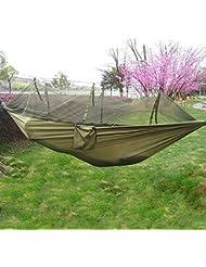 EarMe Hamaca con Cremallera Mosquitero de Tela Nylon Portátil para Una Sola Persona de Uso Interior y Exterior para Viaje y Camping (Verde Caqui)