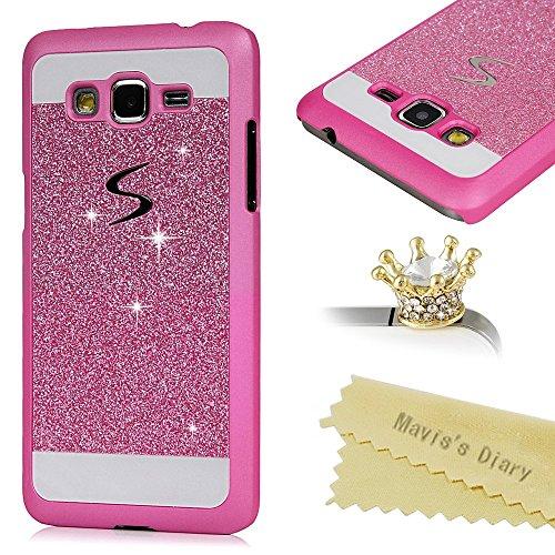 Funda para Samsung Galaxy Grand Prime G530 G530H G5308,de Bling Crystal Plástico PC Case Con PU Leather - Mavis's Diary Funda para móvil Carcasa Resistente a los Arañazos Color de Rose Red