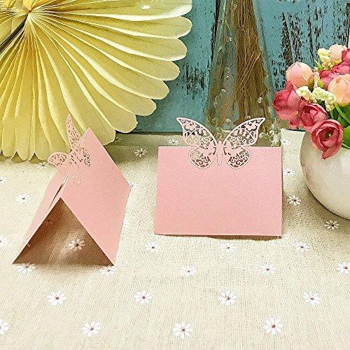 JZK® 50 x Schmetterling Schnitt, Namenskärtchen / Platzkarte / Namensschild / Sitzkarte / Namenskarte / Tischkarte / Tischkärtchen für Party Taufe Kommunion Hochzeit Geburtstag oder andere Anlässe ( pearly pink )