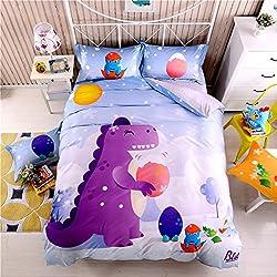 Los niños de la cama edredones Coverlets, dibujos animados dinosaurios cama juego de colcha, funda de edredón colcha funda de almohada, color morado, Algodón/poliéster, Morado, Doublé
