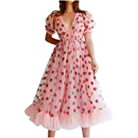 Mooua V-Neck Short Sleeve Dressrs for Women,Casual Sexy Strawberry Sweet Mesh Sling Strap Dress Pleated Long Skirt
