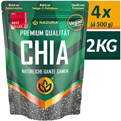NADURIA Premium Chia Samen (Schwarz) - 2kg (4 x 500g) - Reich an Ballaststoffen & OMEGA 3 Fettsäuren - inkl. wiederverschließbarer Verpackung!