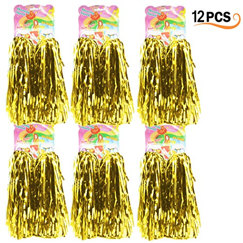 12er Pack Cheerleading Pom Poms - Ultra Shining Pom Pom Cheerleader Puschel Tanzpuschel Party Sport Fußball Zubehör (Gold)