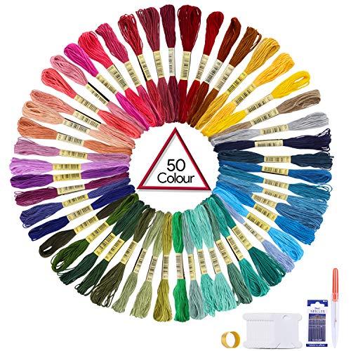 Oladwolf Stickgarn Set Stickerei Kreuzstich 50 Farbfäden, Garn Freundschaftsbänder Stickgarn Baumwollgarn Embroidery Threads Nähgarne Stickerei Basteln -