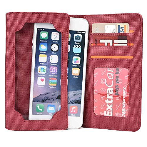 Cooper Cases(TM) Infinite Wallet Custodia Universale per Apple iPhone 6 Plus in Nero (Custodia in Pelle Sintetica, Protezione dello Schermo Incorporata, Fessure per Carte, Portadocumenti, Scomparto pe Bordeaux