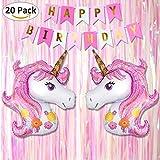 Tumao Unicornio Tema Cumpleaños Fiesta Decoración, Contiene Bandera Tejido - 'Happy Birthday',...