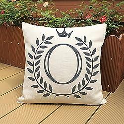 ALIKEEY Kissenbezug Kreative Buchstabe Kombination Druck Polyester leinen Home Decor C der für Sofa, Stuhl, Auto, Bett, Etc. benutzt Werden kann45 x 45cm
