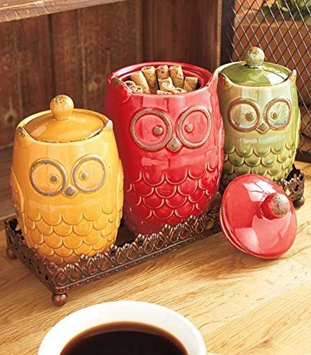 4 Piece Whimsical Ceramic Owl Canister & Metal Tray Kitchen Decor By Knl Store