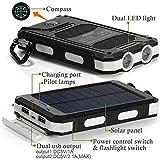 10000mAh Solar Power Bank, Solar Ladegerät, Externer Akku mit superhelle Taschenlampe, Akku pack für Handy (Schwarz-Weiß) - 3