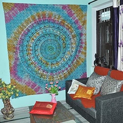 Tapisserie Großer Hippie Elefant Mandala Tapisserie Indischer Traditioneller Strand Wurf Wand College Dorm Bohemian Wand Hängen Boho Tagesdecke Tapisserie Tie Dye