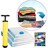 BigOwl Plastic 6 Vacuum Storage Bags Variety Pack 2 x Medium, 2 x Large, 2 x Jumbo Different Size Space Bag, with Hand Pump f