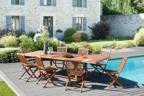 MACABANE 501203 Salon de Jardin Couleur Huile en Teck Dimension 200/300cm X 120cm X 75cm