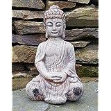 Estatua decorativa de Buda sentado, cerámica, efecto de madera envejecida, para interiores y exteriores, jardín