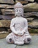 Bouddha assis en céramique effet Drift en bois jardin extérieur intérieur statue Décoration