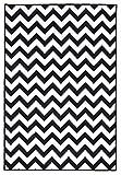 onloom Moderner Teppich in Schwarz-Weiß, Designerteppich in 3 Motiven. Flachwebteppich, geometrische Muster, Größe:133 x 190 cm, Farbe:ZIck-Zack