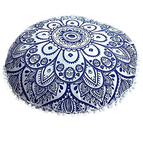 Housse de Coussin Ronde Mandala Indien 43 x 43 cm, Bleu, 43 x 43 cm