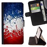 FJCases Frankreich Französisch Flagge Farbe Tasche Brieftasche Hülle Schale Standfunktion Schutzhülle für HTC One (M7)